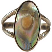 Vintage Silver Ring Blister Pearl Abalone Sterling