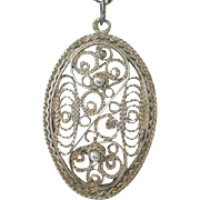 Vintage Sterling Silver Filigree Pendant Necklace Cannetille