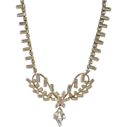 Carl Art Sterling Rhinestone Necklace Wedding Jewelry Vintage