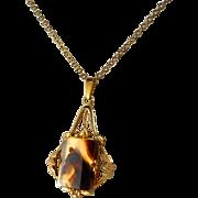 Moss Agate Gold Filled Pendant Necklace Vintage