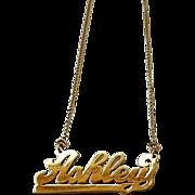 Ashley Nameplate Necklace Vintage Gold Filled