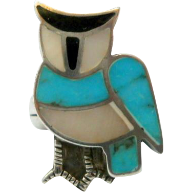 Vintage Owl Turquoise Sterling Silver Ring Size 5