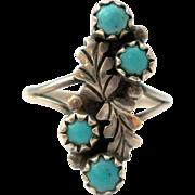 Snake Eye Turquoise Sterling Silver Ring Vintage Handmade Size 6