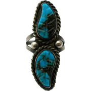 Turquoise Carved Leaves Sterling Silver Ring Vintage Southwestern Style