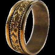 Vintage Gilt Sterling Floral Wedding Band Ring Promise Size 8