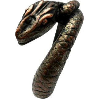 Vintage Copper Snake Serpent Ring Silver Plated Size 9