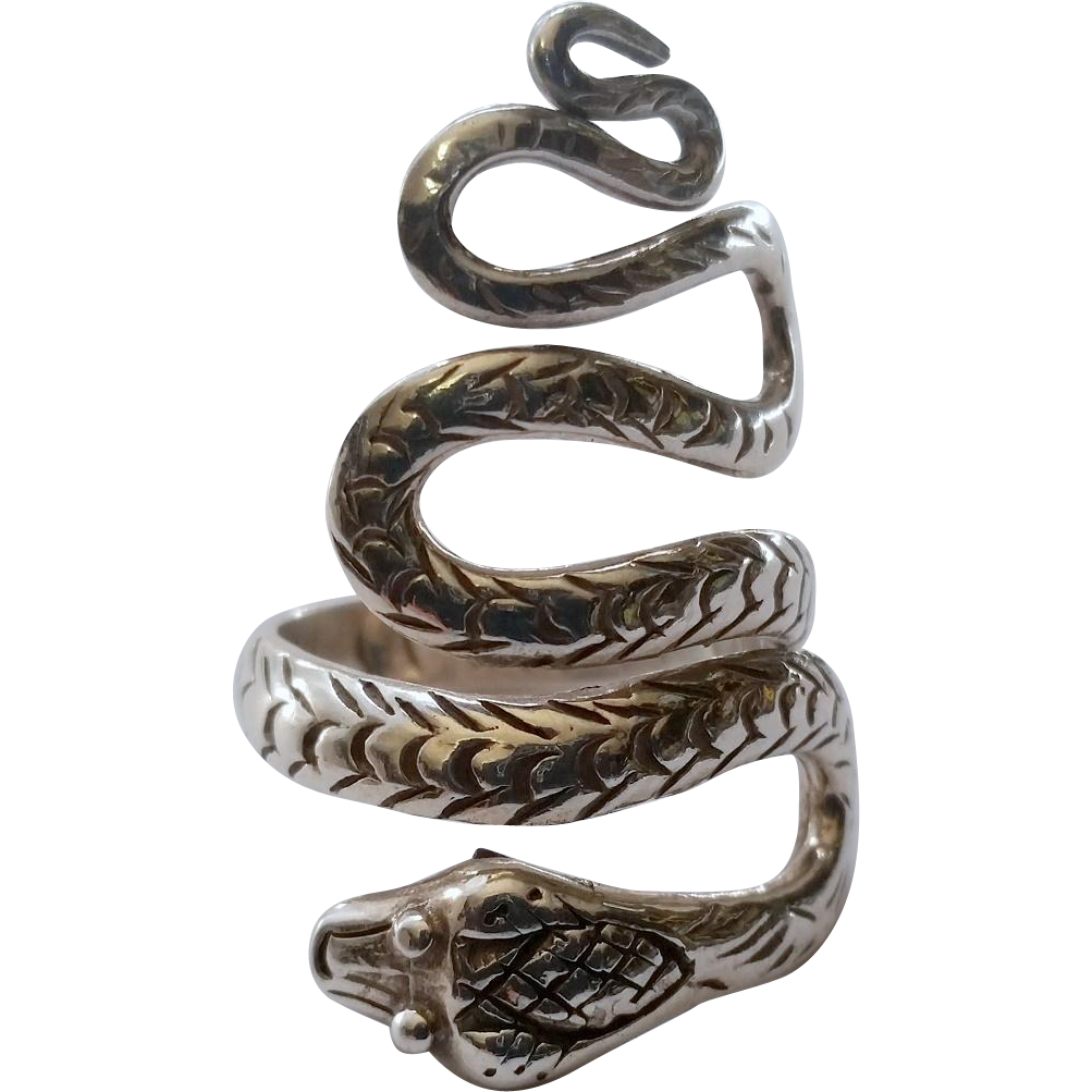 vintage sterling snake serpent ring statement silver from