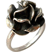 Vintage Mexico Sterling Rose Rosette Ring Size 8