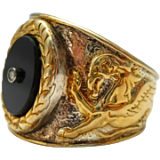Griffin Gryphon Mens Ring Gilt Sterling Diamond Onyx Size 9.5