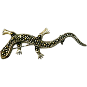 Vintage Sterling Lizard Gecko Brooch Pin Original Box