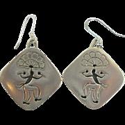 Vintage Mexico Silver Medicine Man Earrings Galino