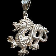 Vintage Sterling Dragon Pendant Silver Figural