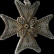 Vintage Sterling Maltese Cross Pendant Sardinian Filigree