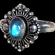 Vintage Sterling Moonstone Ring Ornate Silver