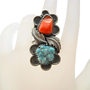 Vintage Turquoise Coral Sterling Ring Southwestern Silver Size 8