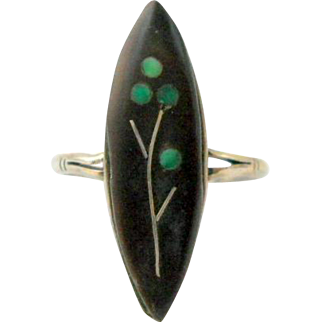 Vintage Inlaid Turquoise Sterling Flower Ring Size 9
