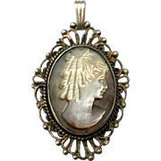 Vintage Shell Cameo Pendant Sterling Silver Mother of Pearl