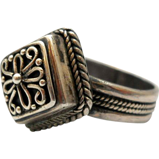 Vintage Mexico Sterling Ornate Ring Size 5 Silver