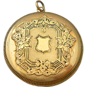 14K Yellow Gold Locket Shield Pendant Vintage