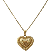 14K Gold Celestial Heart Pendant Necklace Vintage