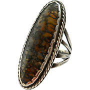 Vintage Agate Sterling Statement Ring Handmade Southwestern Silver