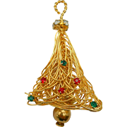 Vintage Christmas Tree Pin Brooch Moveable Dangle