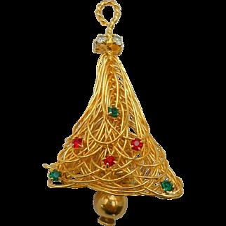 Vintage Christmas Tree Pin Brooch Moveable Dangle