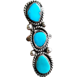 Vintage Triple Turquoise Sterling Southwestern Ring Size 6 Old Pawn