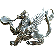 Vintage Sterling Griffin Gryphon Brooch Pin Moonstone Silver