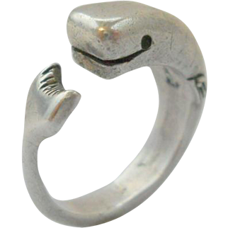 Vintage Whale Ring Sterling Silver Figural Fun Size 7