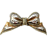 Vintage Reja Sterling Bow Brooch Pin Rare 1940s