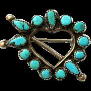 Vintage Turquoise Arrow Pierced Heart Brooch Pin Sterling Silver