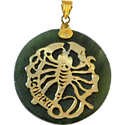 Vintage Nephrite Jade Scorpio Pendant Zodiac