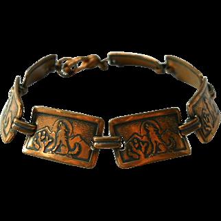 Howling Wolf Vintage Copper Link Bracelet
