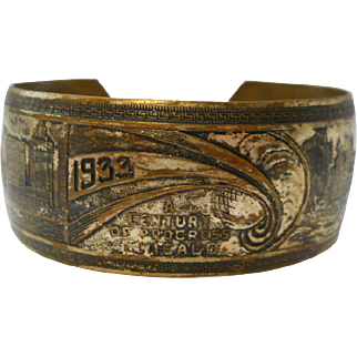 Chicago 1933 Worlds Fair Cuff Bracelet Brass Skyline