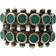 Vintage Sterling Silver Green Turquoise Ring Native American Size 7