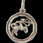 Vintage Sagittarius Zodiac Pendant Sterling Silver