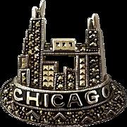 Judith Jack Chicago Brooch Pin Sterling Silver Vintage