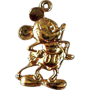 Vintage Gilt Sterling Mickey Mouse Charm Disney