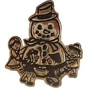 Vintage Mexico Sterling Frosty Snowman Brooch Pin