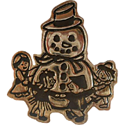Vintage Sterling Silver Frosty Snowman Brooch Pin Mexico