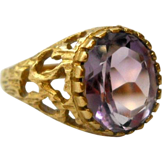 Amethyst 9K Gold Ring Modernist Size 7 Vintage