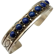 Yazzie Lapis Lazuli Sterling Cuff Bracelet Vintage Navajo