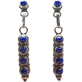 Vintage Lapis Lazuli Sterling Silver Earrings Post