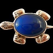 Vintage Sterling Turtle Brooch Pin Blue Stone