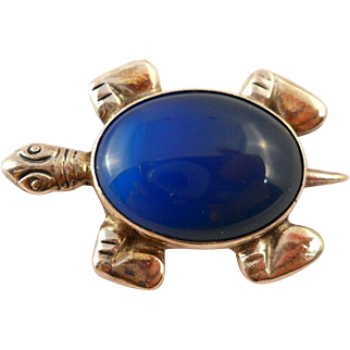Vintage Sterling Turtle Brooch Pin Blue Stone