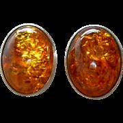 Vintage Amber Sterling Silver Post Earrings
