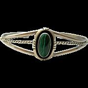 Malachite Sterling Silver Cuff Bracelet Vintage Navajo