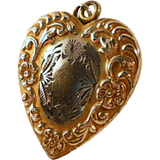 Vintage Carl Art Repousse Heart Locket Pendant Gold Filled