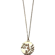 Floral Locket 9K Gold Vintage Pendant Necklace